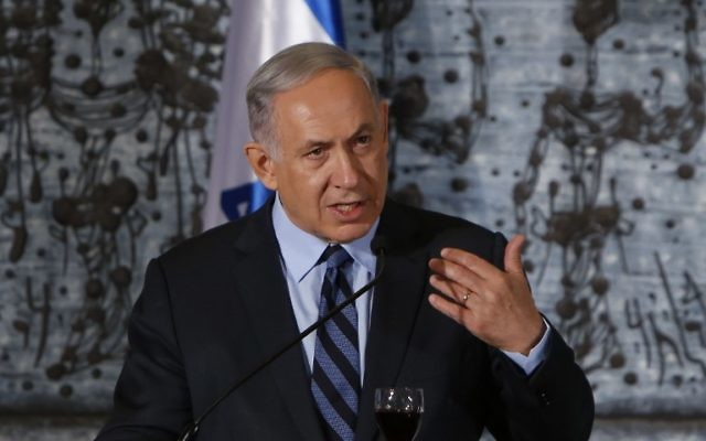 Le Premier ministre Benjamin Netanyahu, le 19 mai 2015, à la résidence présidentielle de Jérusalem (Crédit : AFP Photo / Gali Tibbon)