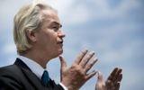Le député néerlandais Geert Wilders pendant une conférence de presse sur la colline du Capitole, à Washington, le 30 avril 2015. (Crédit : Brendan Smialowski/AFP)
