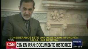 Ali Akbar Velayati, conseiller du guide suprême l'Ayotallah Ali Khamenei lors de son interview à une chaîne argentine (Crédit : Capture d'écran C5N)