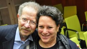 Menachem Rosensaft et Jean Bloch Rosensaft, Hanovre, Allemagne, le 25 avril 2015 (Crédit : Renee Ghert-Zand / Times of Israël)