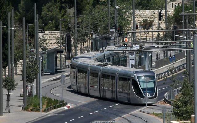 Le tramway de Jérusalem. Illustration. (Crédit : Kobi Gideon/Flash90)