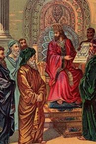 Salomon et le plan pour le Premier Temple. (Illustration d'une carte de bible publiée par la Providence Lithographie Co.)