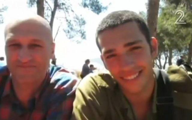 A gauche, Patrick Asraf avec son fils Or (Crédit : Channel 2 news)