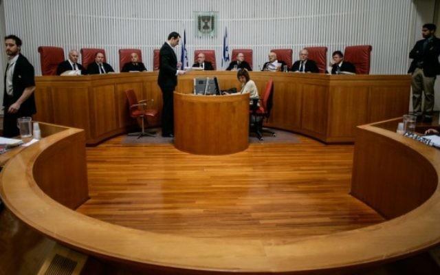 La Haute Cour de Justice en session, Juillet 2013. (Miriam Alster / Flash90)
