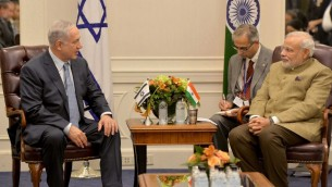 Benjamin Netanyahu, à gauche, rencontre Narendra Modi à New York le 28 septembre 2014 (Photo: Avi Ohayon/GPO/FLASH90)