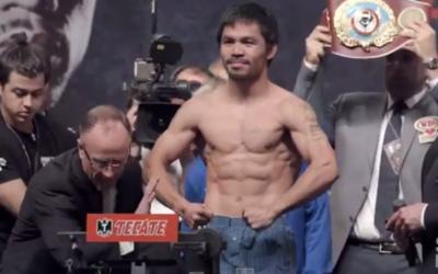 Manny Pacquiao à la pesée avant le match contre Floyd Mayweather, le vendredi 1er mai 2015 à La vegas (Crédit : Capture d'écran YouTube MMAFightingonSBN)