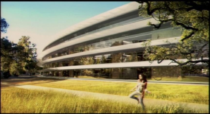 Interprétation artistique de l'extérieur du nouveau siège d'Apple, tel que présenté par Steve Jobs au Conseil municipal de Cupertino le 7 juin 2011 (Crédit : Ville de Cupertino)