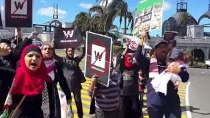Les militants BDS à l'extérieur d'un magasin Woolworths (Crédit : Capture d'écran YouTube)