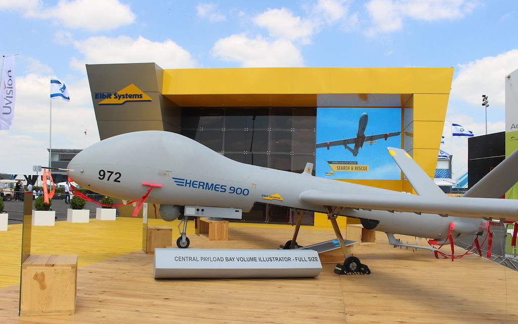 Le drone Hermes 900 de Elbit Systems Ltd (Crédit : Times of Israël Staff)