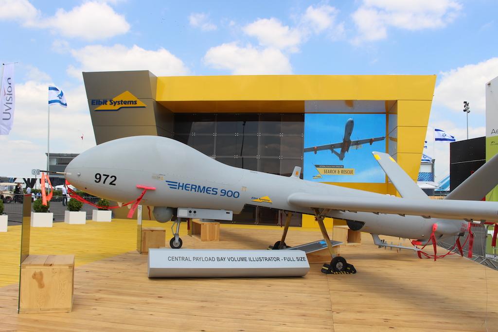 Le drone Hermes 900 de Elbit Systems Ltd (Crédit : Times of Israël Staff)