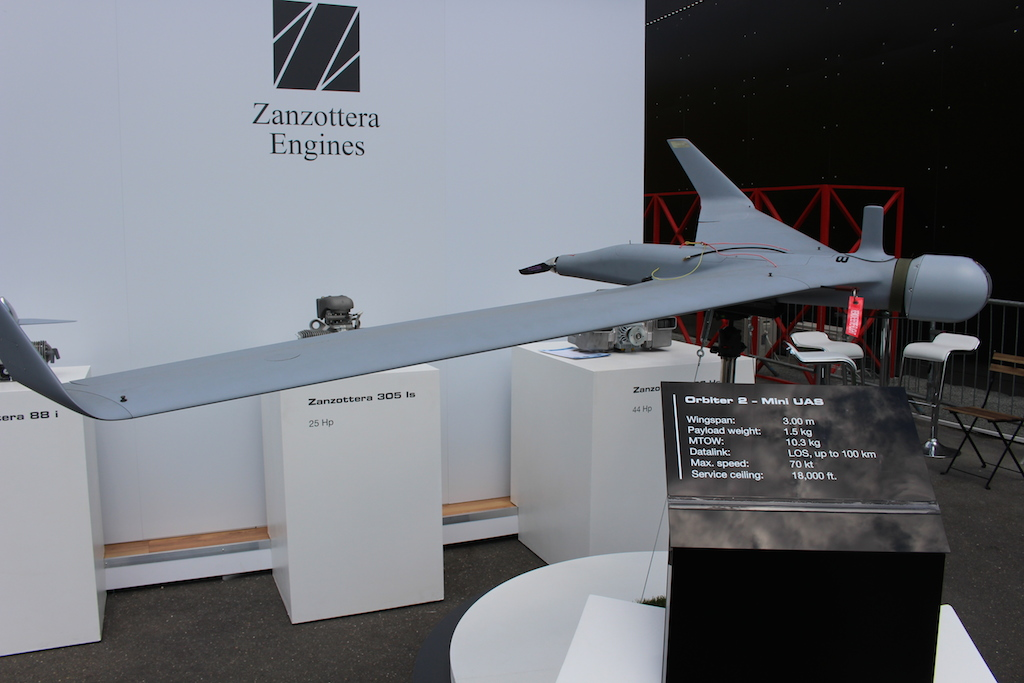 Le drone Orbiter 2 de Aeronautics Ltd (Crédit : Times of Israël Staff)