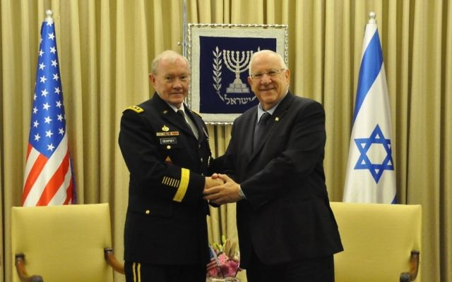 Le président Rivlin et le général Dempsey, président du Joint Chiefs of Staff des États-Unis (Crédit : Porte-parole du président)