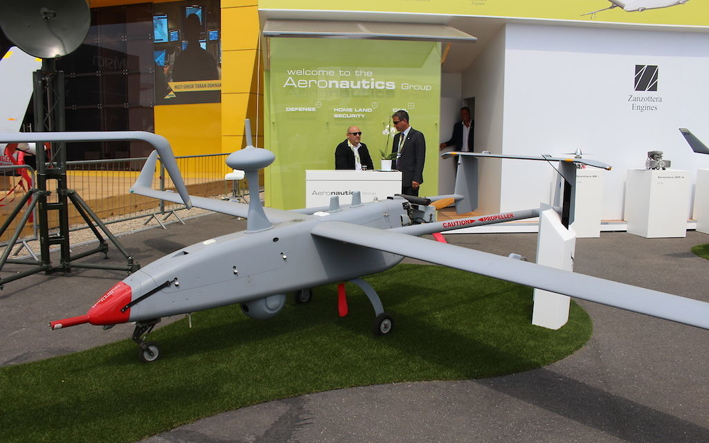 Le drone Aerostar de Aeronautics Ltd (Crédit : Times of Israël Staff)