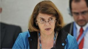 La présidente de la Commission d'enquête indépendante sur 2014 Gaza, Mary McGowan Davis  (Crédit : AFP PHOTO / FABRICE COFFRINI)