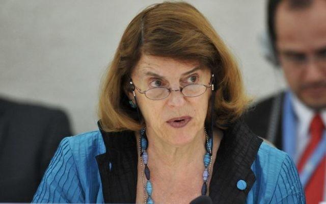 La présidente de la Commission d'enquête sur le conflit à Gaza de 2014 , Mary McGowan Davis  (Crédit : AFP PHOTO / FABRICE COFFRINI)