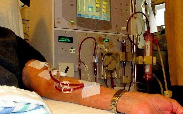 Un patient sous dialyse. Illustration. (Crédit : Anna Frodesiak/Wikimedia Commons)