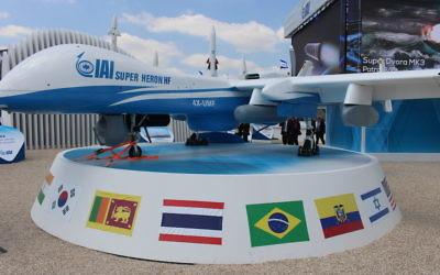 Le drone Super Heron HF d'Israel Aerospace Industries (Crédit : Times of Israël Staff)