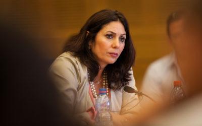 Miri Regev, ministre de la Culture et des Sports, députée du Likud. (Crédit : Uri Lenz/Flash90)