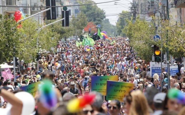 Des milliers de personnes assistent à la parade annuelle de la Gay Pride à Tel Aviv, le 13 juin 2014. (Crédit : Yonatan Sindel / Flash90)