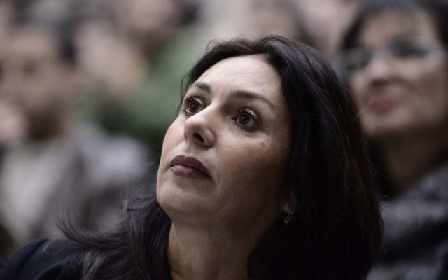 La députée du Likud, Miri Regev, lors d'une conférence politique à l'université de Tel-Aviv, le 18 janvier 2015 (Crédit : Tomer Neuberg / FLASH 90)