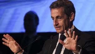 Nicolas Sarkozy à la conférence d'Herzylia - 8 juin 2015 (Crédit : Flash 90)