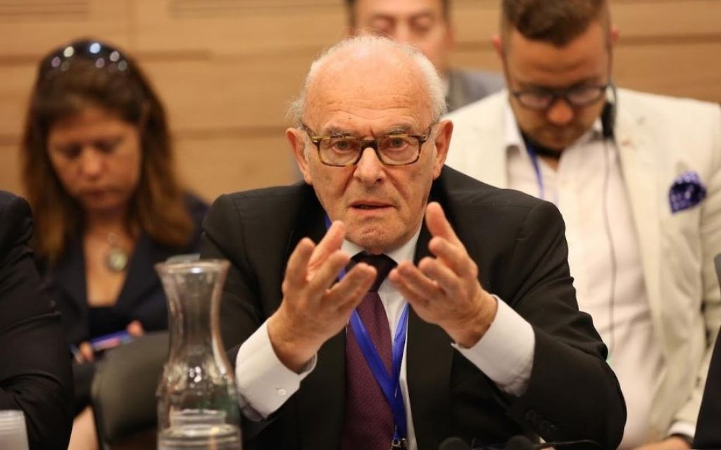 Le survivant de l'Holocauste, Baron Julien Klener, le président sortant du Consistoire israélite de Belgique, le 23 juin 2015 lors d'une mission de solidarité en Israël (Courtoisie)