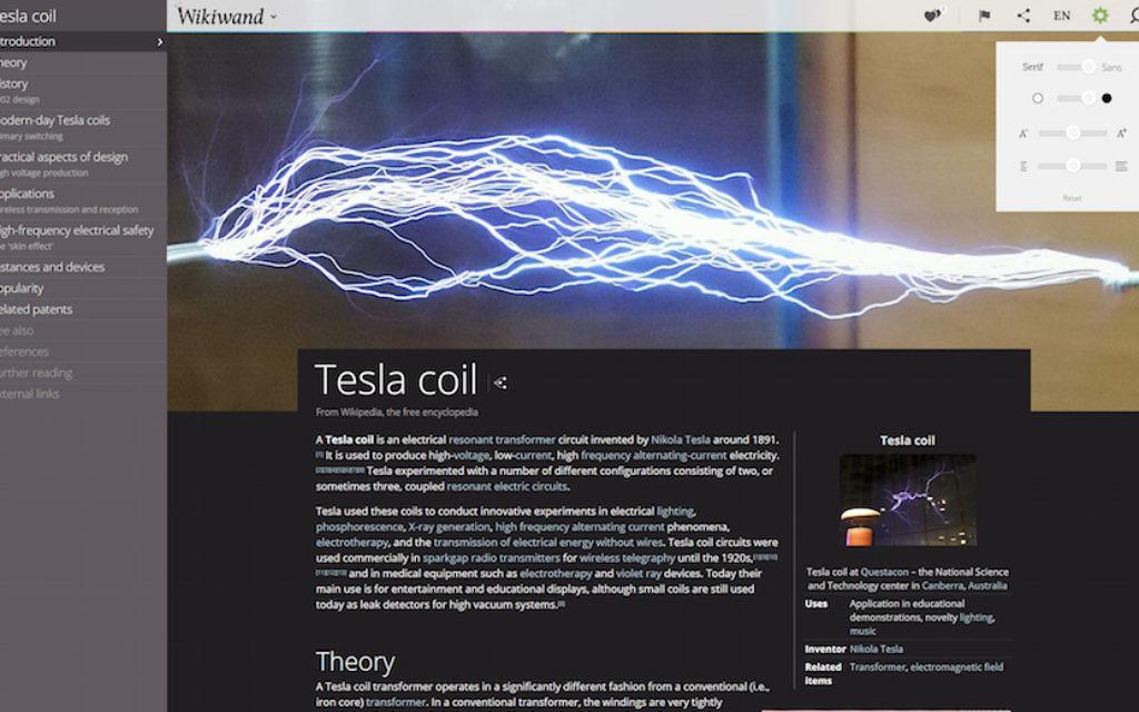 La version Wikiwand d'une page de Wikipedia, sur la bobine de Tesla (Wikiwand)