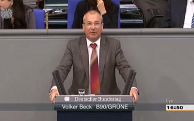 Le député écologiste Volker Beck (Crédit : Capture d'écran YouTube)