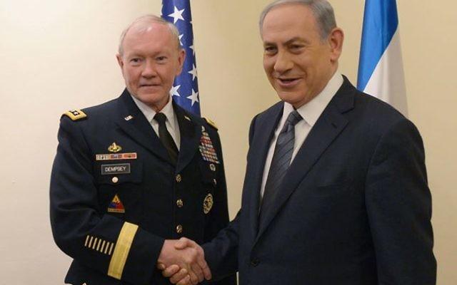 Le chef d'état-major des armées des États-Unis, Martin Dempsey (à gauche), avec Binyamin Netanyahu, le jeudi 11 juin, a Jérusalem (Crédit photo: Amos Ben Gershom, GPO)