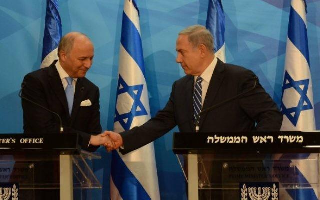Le Premier ministre Benjamin Netanyahu rencontre le ministre français des Affaires étrangères Laurent Fabius, le 21 juin 2015, à Jérusalem. (Haim Zach / GPO)