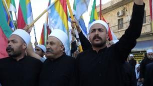 Manifestation pro-Syrie à Majdal Shams, le 15 juin 2015. (Crédit : Melanie Lidman/Times of Israel)