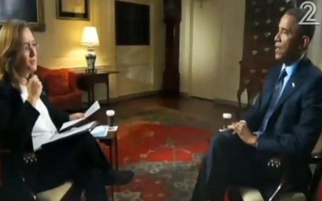 Barack Obama interviewé par Ilana Dayan sur la Deuxième chaîne israélienne (Crédit : capture d'écran Deuxième chaîne)