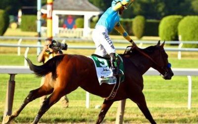 Victor Espinoza, célèbre le record d'American Pharoah , après avoir remporté la147e  course des Belmont Stakes le 6 Juin 2015.  (Al Bello / Getty Images / AFP)