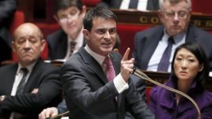 Le Premier ministre français Manuel Valls à l'Assemblée nationale, à Paris, le 11 février 2015 (Patrick Kovarik / AFP)