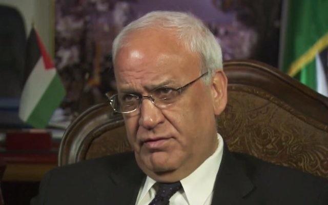 Saeb Erekat, n° 2 de l'Organisation de libération de la Palestine. (Crédit : capture d'écran YouTube)