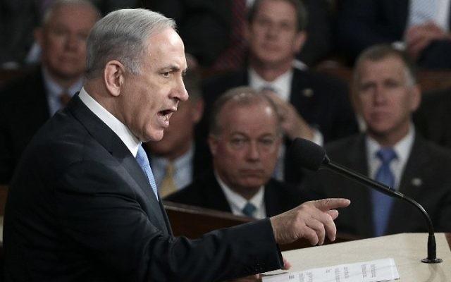 Le Premier ministre Benjamin Netanyahu devant le Congrès des États-Unis à Washington, D.C., le 3 mars 2015. (Crédit : Win McNamee/Getty Imagess/AFP)