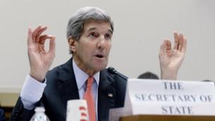 Le secrétaire d'Etat américain John Kerry lors d'une audience devant la Commmission des Affaires étrangères de la Chambre des Représentants le 28 juillet 2015 à Washington (Crédit: Olivier Douliery / Getty Images / AFP)