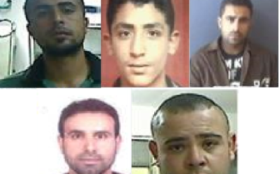 Photographies de cinq suspects impliqués dans l'attentat meurtrier en juin 2015 près de Dolev en Cisjordanie , dans lequel Danny Gonen a été assassiné.  Dans le sens des aiguilles d'une montre à partir du haut : Muhammad Abu Shahin, Ashraf Omar, Amjad Eduan, Asamah Assad, Muhammad Eduan