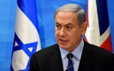 Benjamin Netanyahu en conférence de presse à son bureau de Jerusalem le 16 juillet. (Crédit : AFP/ POOL / DEBBIE HILL)