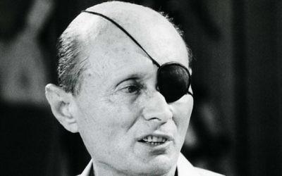 Moshe Dayan en juin 1981 (Crédit : Moshe Shai / Flash90)