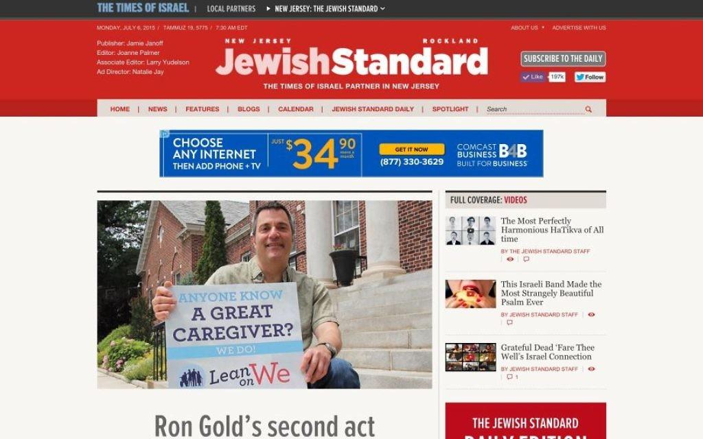 La nouvelle page d'accueil du Jewish Standard