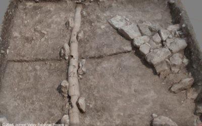 Vestiges d'une canalisation romaine d'un Legio, un camp militaire du 2ème et du 3ème siècle de notre ère, à côté de Megiddo (Crédit : Autorisation)