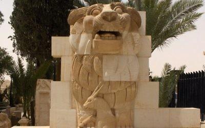 Le lion d'Athéna à Palmyre (Crédit : wikipédia)