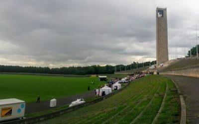 Le stade de Berlin où les jeux Maccabi de 2015 aura lieu le 28 juillet 2015 (Crédit : Ilan Ben Zion / Times of Israël)