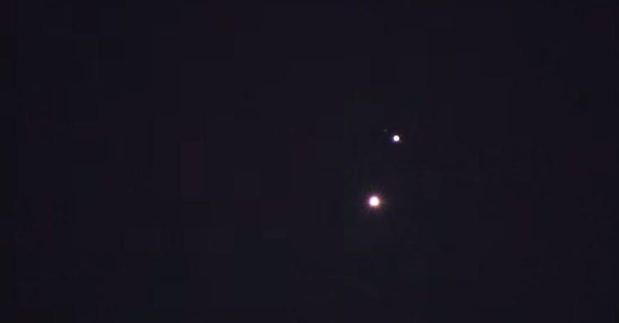 Vénus et Jupiter en convergence, le 30 uin 2015 (Crédit : Capture d'écran YouTube)