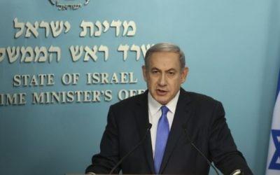 Conférence de presse de Benjamin Netanyahu après l'accord nucléaire avec l'Iran, au bureau du Premier ministre à Jérusalem le 14 juillet 2015. (Crédit photo: Hadas Parush / Flash90)