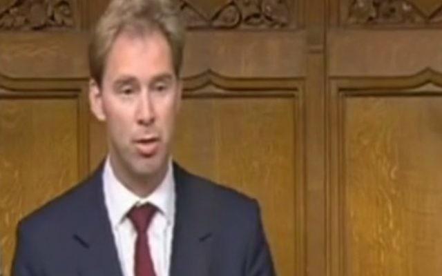 Le ministre britannique Tobias Ellwood le 24 juin 2009 (Capture d'écran YouTube )