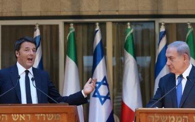 Le Premier ministre israélien Benjamin Netanyahu (à droite) et le Premier ministre italien Matteo Renzi tiennent une conférence de presse conjointe à la résidence du Premier ministre à Jérusalem le 21 juillet 2015  (Flash 90 / Marc Israël Sellem / Pool)