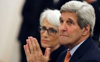 Le Secrétaire d'Etat américain John Kerry et lasous-secrétaire aux affaires politiques Wendy Sherman rencontrant les ministres des Affaires étrangères d'Allemagne, de France, de Chine, de Grande-Bretagne, de Russie et de l'Union européenne à Vienne, en Autriche le 7 juillet,2015 (Photo: Carlos Barria / AFP / POOL)