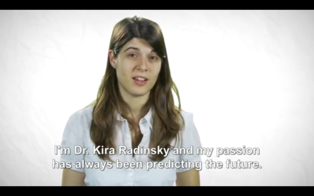 "Capture d'écran : vidéo YouTube ""Predicting the Future - Kira Radinsky Technion Alumna"""